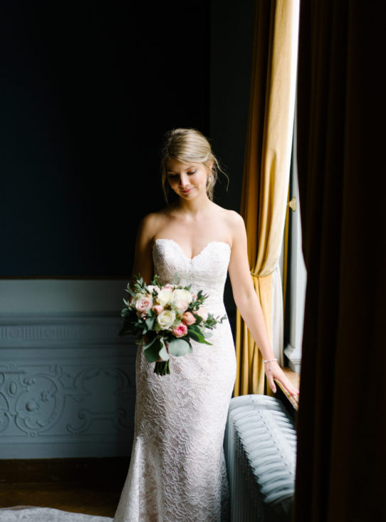 bride by window, classic bride